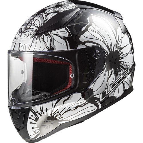 LS2 Casco Moto Ff353 Rapid Poppies, Black White, Taglia S