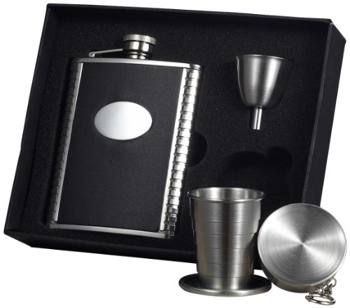 visol-tux-leather-stellar-flask-gift-set-6-ounce-black