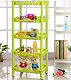 Hk Vertical 5 Layer Storage Organizer Rack Shelf with Plastic wheels for Kitchen Bath and Bedrooms