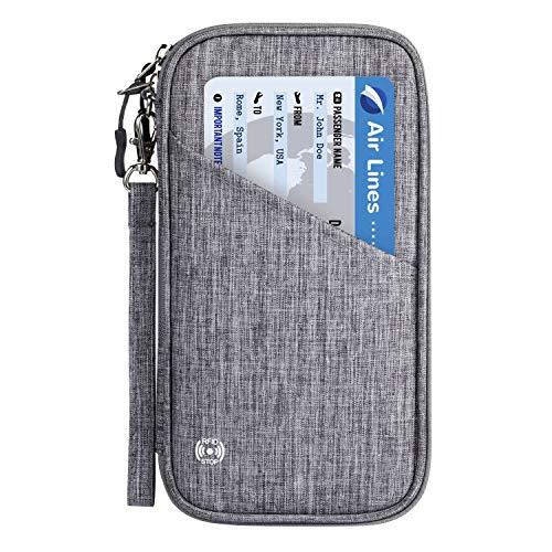 Reisepass Tasche Reisepasshülle RFID-Blocker Schutzhülle | Familien Reise Brieftasche Pass Hülle Passport Etui Ausweistasche Dokumente Organizer für Damen/Herren 25 x 14 cm (Grau)