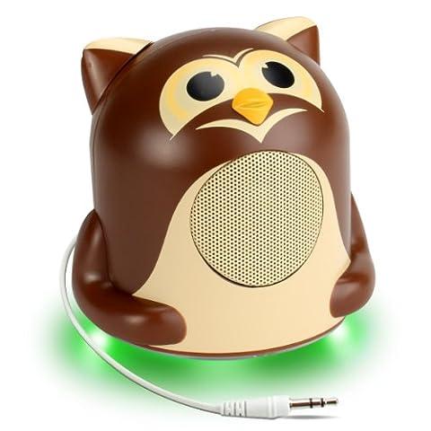 Enceinte Haut-Parleur Enfant avec LED à la Base – Pour Smartphones , Tablettes , MP3 : Apple iPhone , iPad , iPod / Samsung Galaxy Tab et tout Appareil équipé d'un Port Jack 3.5 mm -- Hibou Jungle Party