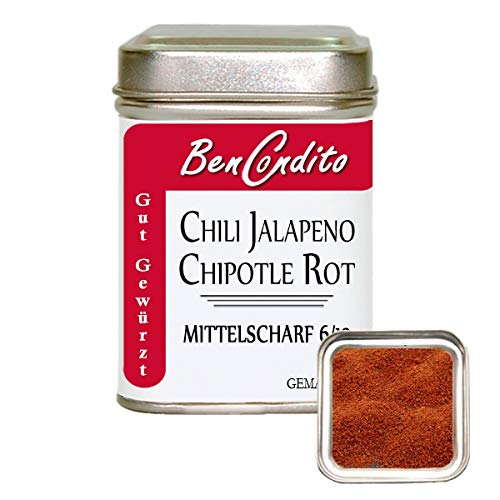 BenCondito - Rotes Scharfes Geräucherte Jalapeno Chilipulver (Chipotle) 80 gr Dose (Jalapeno-pulver)