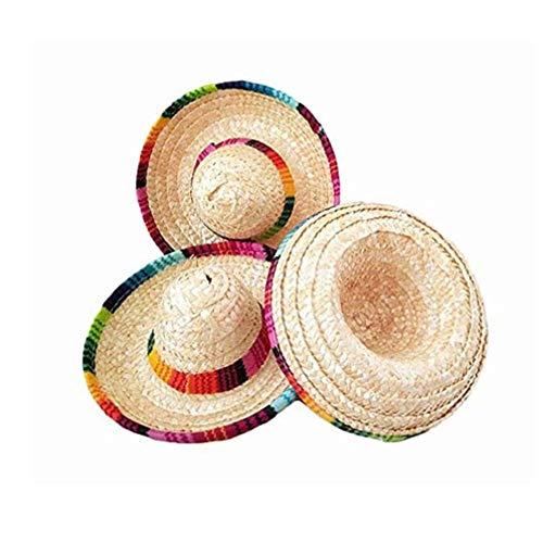 Evenlyao Sombrero Strohhut Trompete, Mexikanischer Mini-Hut Mit Kordelzug, Einheitsgröße, Geburtstagsfeierdekorationen, Tischartikel
