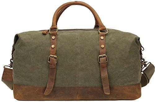 Borsa a tracolla da uomo in tela e pelle, Berchirly-Borsone trolley Borsone per Weekend borse sportive Unisex grigio grigio - Verde militare
