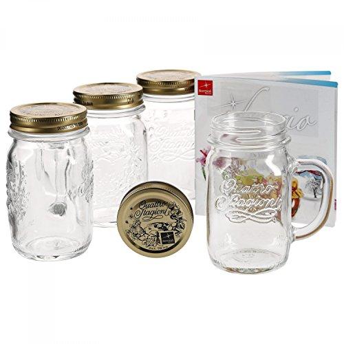 4er Set Trinkglas mit Henkel und Deckel Original Quattro Stagioni Glas 0,415L - inkl. Bormioli Rezeptheft