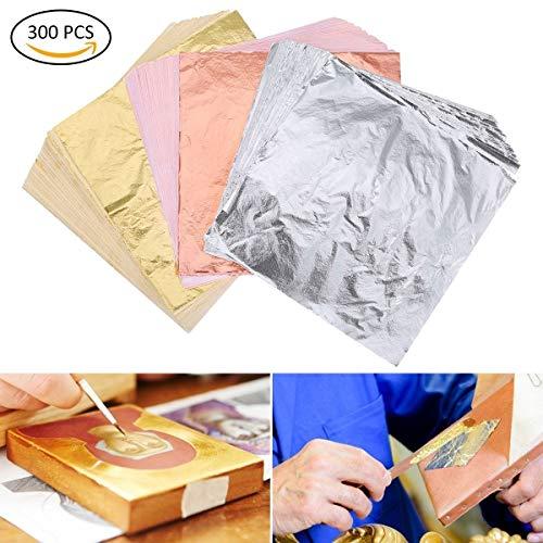 TankerStreet 300 Blätter Imitation Blattgold Vergoldung Folie Nachahmung Gold Blatt Silber Blatt und Rose Gold Blatt für Kunst, Handwerk, Dekoration und Möbel 14 x 14 cm (5.5 x 5.5 Zoll)