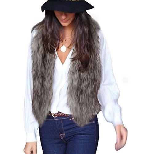 Damen Weiche Weste Winter Warme ✽ZEZKT✽2017 Künstlich Fur Ärmellose Jacke Mantel Pelzweste V-Kragen Elegant Parka Pelzjacke Outwear (XL, Grau) (Hülle Ärmelloses Gedruckt)