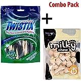 Twistix Dental Chews With Vanilla Mint Flavor (Small) & Dogaholic Milky Chews Knotted Bone Dog Treat/Snacks (Combo Pack)