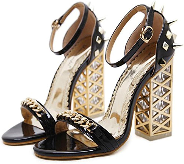 GAOLIXIA Tacones Altos de Las Mujeres Primavera Verano Nuevo Crystal Sandalias de Tacón Grueso Comfort Rivet Shoes...