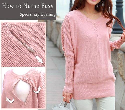 MK3007 Pull de grossesse et allaitement en coton bio pink