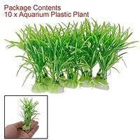 SODIAL(R) 10PCS plastico verde Acuario Planta Verde