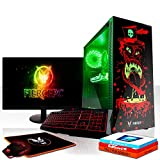 Fierce Maniac RGB Gaming PC Bundeln - Schnell 3.6GHz Quad-Core Intel Core i3 8100, 1TB HDD, 16GB 2666MHz, AMD Radeon RX 550 2GB, Windows 10, Tastatur (QWERTZ), Maus, 24-Zoll-Monitor 1066602