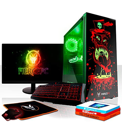 Fierce Gobbler RGB Gaming PC Bundeln - Schnell 4.2GHz Quad-Core Intel Core i7 7700, 2TB HDD, 8GB 2400MHz, NVIDIA GeForce GTX 1050 2GB, Windows 10, Tastatur (VK/QWERTY), Maus, 21.5-Zoll-Monitor 880363