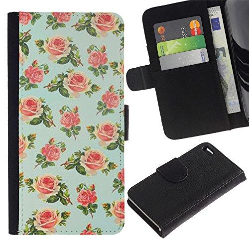 Paccase / Portafoglio del Cuoio di vibrazione del Titolare della carta Custodia per - mint green floral rose wallpaper retro - Apple Iphone 4 / 4S