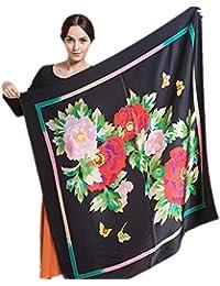 Prettysterns - peindre à la main 110cm foulard de soie peinture sur soie brillante 100% pivoine soie crêpe de satin - sélection des couleurs TSH16