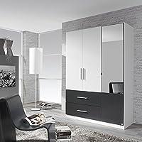 Preisvergleich für Kleiderschrank weiß / grau 3 Türen B 136 cm Schrank Drehtürenschrank Spiegelschrank Wäscheschrank Jugendzimmer Schlafzimmer