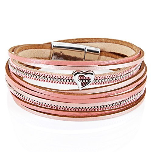 StarAppeal Armband Wickelarmband in Leder mit Herz, Kette und Magnetverschluss Silber, Damen Armband (Rose-Puder) Leder Magnetverschluss