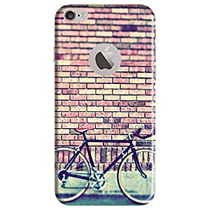 Bhishoom Designer Printed Back Case Cover for Apple iPhone 6 (Logo View Window Case) (Bicycle On Textured Wall)