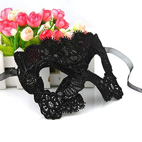 NUOKAI Lace Mask Ball sexy Schwarze Spitzenmaske, schwarz, Catwoman Maske