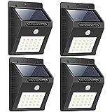 Groeien® Waterproof Bright Solar Wireless Security Motion Sensor 20 LED Night Light for Outdoor/Garden Wall (Black)(pack of 4)