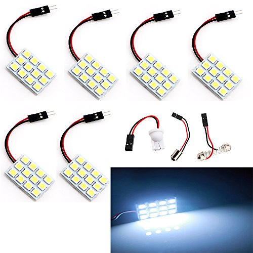 Everbright 6er Pack Super Weiß 240lums 3. Generation Energiespar 505012-smd LED Panel Dome Light Auto Innen Lesung Teller Lampe Dach Deckenleuchte Innen Leuchtmittel mit T10/BA9S/Soffitte Adapter (dc-12V) (Lampe Dach Auto)
