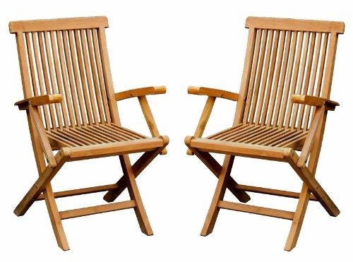 Charles Bentley Garden Pair Of Solid Wooden Teak Garden Outdoor Folding Armchairs