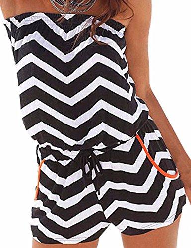 Emma Damen Strapless tr?gelos weg von der Schulter kurzer Overall Sexy Sommer Strand mit Druck Jumpsuits Rompers(BA,XL)