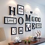 Bilderrahmen von Hjky, Massivholz-Set, kreative Zusammenfassung, rund 10moderne Bilder für das Wohnzimmer, Schlafzimmer , Wandkasten. Solides Schwarz
