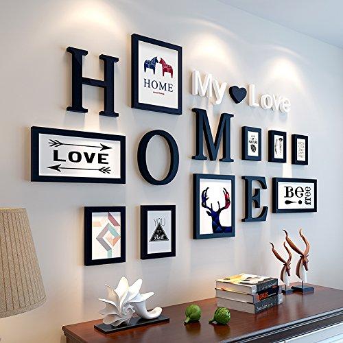 Preisvergleich Produktbild Bilderrahmen von Hjky, Massivholz-Set, kreative Zusammenfassung, rund 10moderne Bilder für das Wohnzimmer, Schlafzimmer , Wandkasten. Solides Schwarz