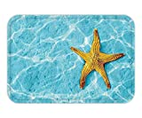 Doormat SeashellDecor Collection Starfish in Water with Light Reflection SunbeamExotic Seascape Resort Scene Nature Image Polyester Fabric Bathroom Extra Long Blue 23.6 W X 15.7 W Inches