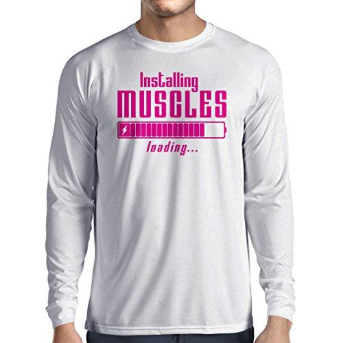 Langarm Herren t shirts Muskelarbeit Kleidung - für Muskelaufbau Meister, Vintage Design, Fitness Kleidung Weiß Magenta