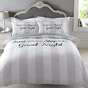 Dreamscene Sweet Dreams Duvet Cover Bedding Set with Pillowcase, Grey, Double