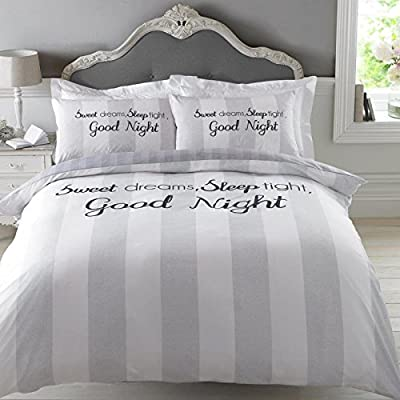 "Dreamscene ""Sweet Dreams"" Duvet Cover Bedding Set with Pillowcase, Grey, Single - cheap UK light shop."