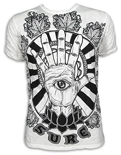 Sure Camiseta Hombre El Tercer Ojo Talla M L XL Hamsa Fatimas Mano Yoga Boho (L, Blanco)