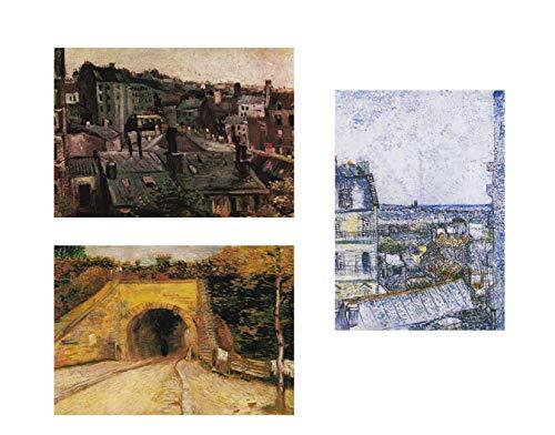 General ART Wanddekoration, Motiv: Vincent Van Gogh Paris, 3 Stück, Größe A3, ungerahmt, für Kunstliebhaber (Center Stück Paris)