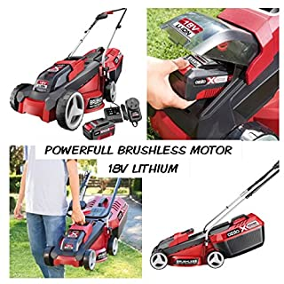 lawnmower 18v cordless state of the art super lightweight powerfull brushless comlete kit with 3.0 ah lithium battery and fast charger