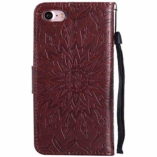 Custodia iPhone 7, Dfly Premium PU Goffratura Mandala Design Pelle Chiusura Magnetica Protettiva Portafoglio Custodia Super Sottile Flip Cover per iPhone 7 (4.7 Pollici), Rosa Oro Marrone