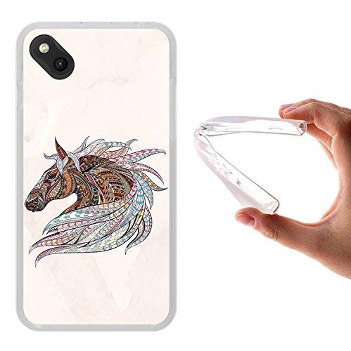WoowCase Wiko Sunny Hülle, Handyhülle Silikon für [ Wiko Sunny ] Ethnisches Pferd Handytasche Handy Cover Case Schutzhülle Flexible TPU - Transparent