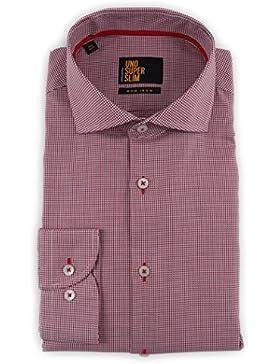 Seidensticker Herren Langarm Hemd UNO Super Slim Spread Kent Patch3 rot / weiß strukturiert 675266.46