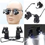 Spesso 20x Repair Magnifier Bracciale orologio riparazione lente d' ingrandimento Eye Glasses JEWELER Watch lente d' ingrandimento occhiali lente d' ingrandimento con LED Chiaro