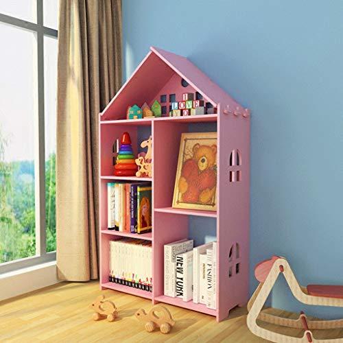 Haoli-sj Mehrschichtiges Bücherregal Wohnzimmer Schlafzimmer Arbeitszimmer Bücherregal für Kinder Bücherregal (Farbe : Pink)