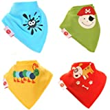 Baby Bandana Dribble Bib Super Absorbent Premium Dribble Bibs Adjustable Poppers (4 Pack Gift Set Baby Shower) ~ Multi-Award Winning ~ Gift Of The Year Finalist ~ 200+ Designs ~ UK Family Company ~ Official Brand License partner ~ Stocked on Amazon since 2012 ~ Baby Boy Bibs ~ Baby Girl Bibs ~ Unisex Gender Neutral Bibs, Drool Bibs, Teething Bibs, Drooling Bibs ~ Fit Newborn Infant Toddler, 0 months, 6 months (Fun Characters)