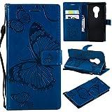 Hozor Motorola Moto E5 Handyhülle, Retro Großer Schmetterling Muster PU Kunstleder Ledercase Brieftasche Kartenfächer Schutzhülle mit Standfunktion Magnetverschluss Flip Cover Tasche, Blau