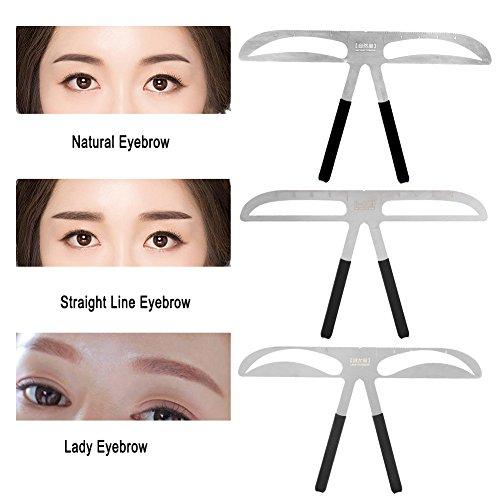 3 Arten Augenbraue-Lineal - Positionierung Balance-Regel für permanentes Makeup-Messwerkzeug, DIY-Augenbraue-Schablonenvorlagen - Permanentes Gold-Verhältnis(Lady Eyebrow) -
