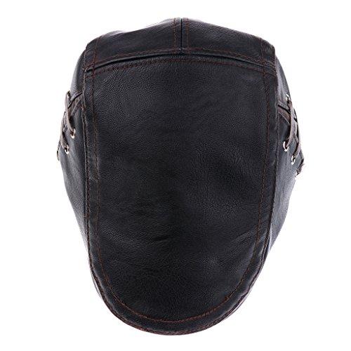 Sharplace Lederkappe Gatsby Schirmmütze Mützen Zeitungsjungen Gap Herrenmütze Baker Boy Cap Newsboy Caps Golfmütze - Stil 1-Schwarz, Wie beschrieben