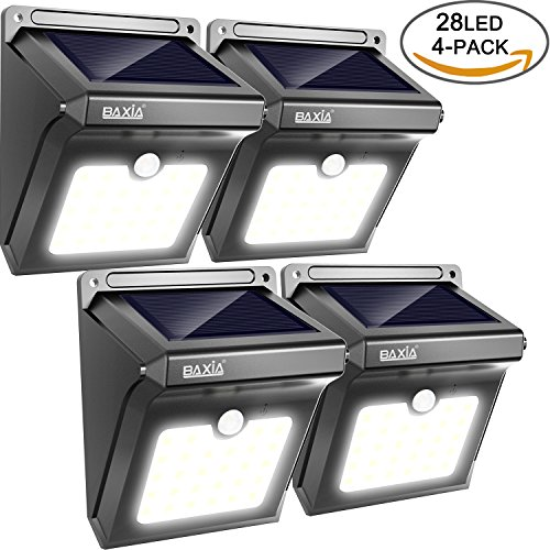 BAXiA 28 LED, Ampoule de sécurité avec Détecteur de Mouvement solaire sans fil pour l'extérieur, mur extérieur, jardin, terrasse, cour(Lot de 4)