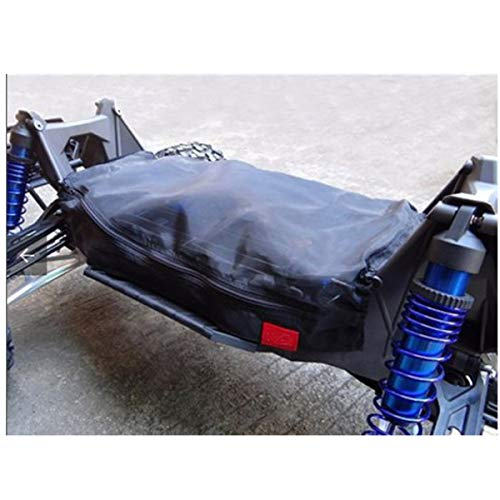 ESSORT Karosserie Remoto, RC Model Hop-ups Dirt Guard Chassis Cover, RC Waterproof Dust Cover Outerware Protector for 1/5 TRAXXAS 6S 8S X-MAXX XMAXX 38×10×2cm Schwarz Nylon-warm-ups