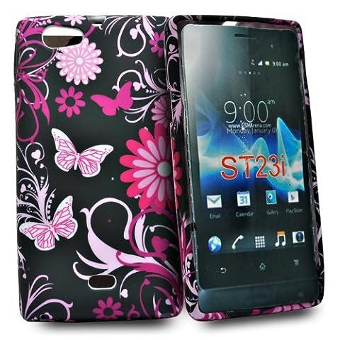 Accessory Master Schmetterling blumen Design Silikon Schtuzhülle für Sony Xperia