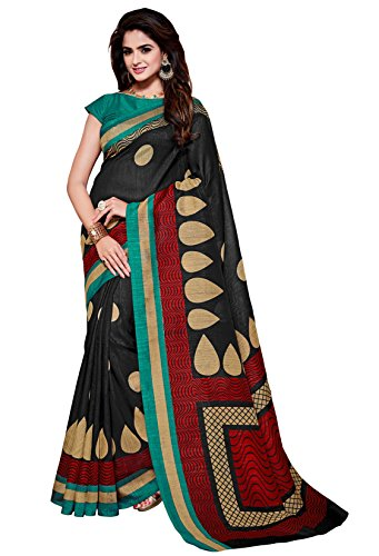 Classic Enterprise Sarees Daily Wear Stripe & Geometric Print Black Color Cotton Sari With Blouse (Malgudi-4493)