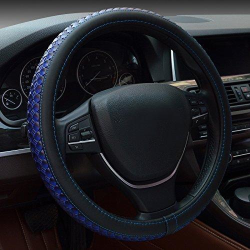 Preisvergleich Produktbild Auto Lenkrad Abdeckungen,  Fozela Universal 38cm Mikrofaser-Leder Anti-Rutsch atmungsaktiv Lenkradbezug (blau)